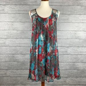 Alberto Makali Gauzy Floral Sequined Dress Sz XL